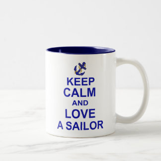 Keep Calm and Love a Sailor Two-Tone Coffee Mug