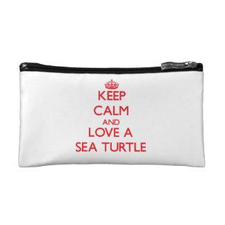 Keep calm and Love a Sea Turtle Makeup Bags
