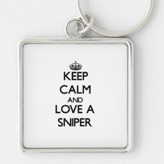 Keep Calm and Love a Sniper Silver-Colored Square Keychain