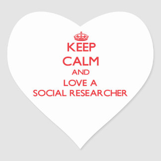 Keep Calm and Love a Social Researcher Heart Sticker