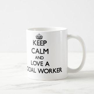 Keep Calm and Love a Social Worker Classic White Coffee Mug