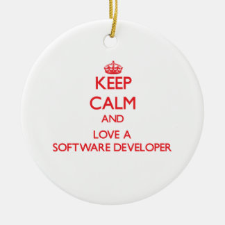 Keep Calm and Love a Software Developer Christmas Tree Ornaments