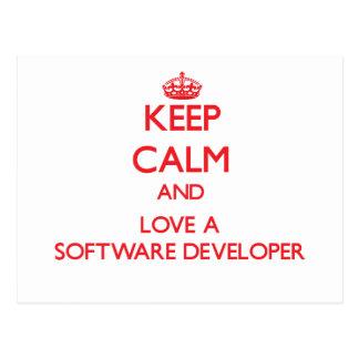 Keep Calm and Love a Software Developer Postcard