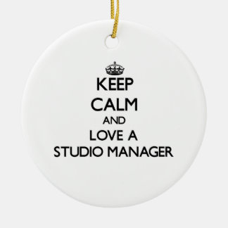 Keep Calm and Love a Studio Manager Christmas Ornaments