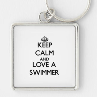 Keep Calm and Love a Swimmer Silver-Colored Square Keychain