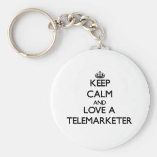 Keep Calm and Love a Telemarketer Basic Round Button Keychain