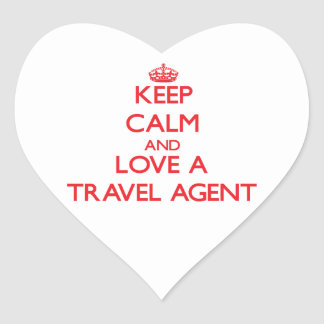 Keep Calm and Love a Travel Agent Heart Sticker