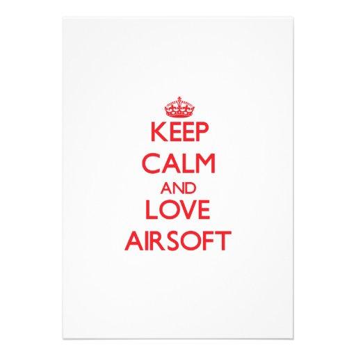 Keep calm and love Airsoft Custom Invitations
