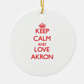 Keep Calm and Love Akron Christmas Ornament