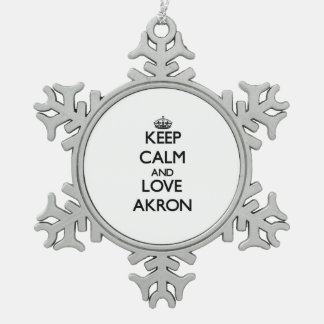 Keep Calm and love Akron Ornaments