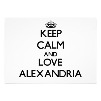 Keep Calm and love Alexandria Personalized Invitations