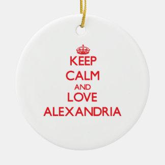 Keep Calm and Love Alexandria Christmas Ornament