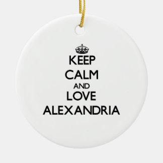 Keep Calm and love Alexandria Christmas Ornaments