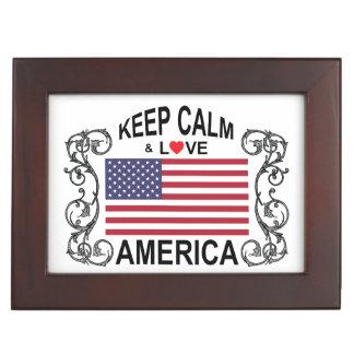 Keep Calm And Love America Keepsake Box