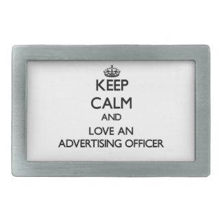 Keep Calm and Love an Advertising Officer Rectangular Belt Buckles
