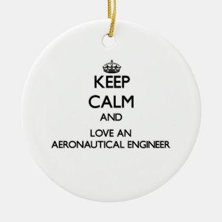 Keep Calm and Love an Aeronautical Engineer Christmas Tree Ornaments