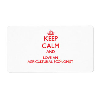 Keep Calm and Love an Agricultural Economist Shipping Label
