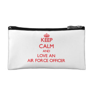 Keep Calm and Love an Air Force Officer Cosmetic Bags