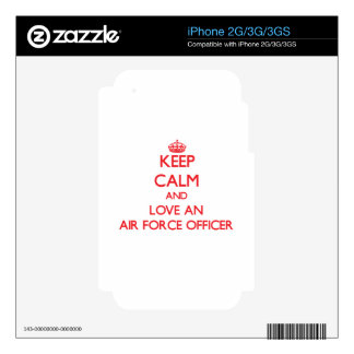 Keep Calm and Love an Air Force Officer Decal For iPhone 3GS