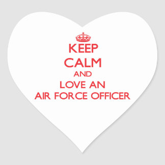 Keep Calm and Love an Air Force Officer Heart Sticker