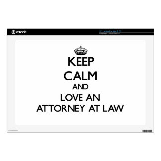 """Keep Calm and Love an Attorney At Law Decals For 17"""" Laptops"""