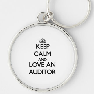 Keep Calm and Love an Auditor Silver-Colored Round Keychain