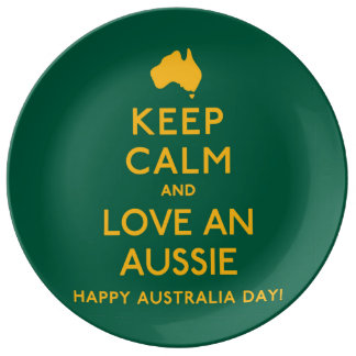 Keep Calm and Love an Aussie! Dinner Plate