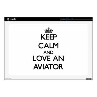 "Keep Calm and Love an Aviator Skin For 17"" Laptop"