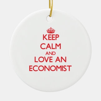 Keep Calm and Love an Economist Double-Sided Ceramic Round Christmas Ornament
