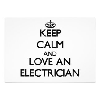 Keep Calm and Love an Electrician Invitations