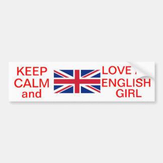 KEEP CALM AND LOVE AN ENGLISH GIRL BUMPER STICKER CAR BUMPER STICKER