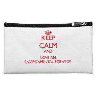 Keep Calm and Love an Environmental Scientist Makeup Bags