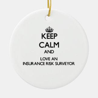 Keep Calm and Love an Insurance Risk Surveyor Christmas Ornament
