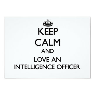 Keep Calm and Love an Intelligence Officer 5x7 Paper Invitation Card