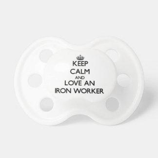 Keep Calm and Love an Iron Worker BooginHead Pacifier