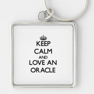 Keep Calm and Love an Oracle Silver-Colored Square Keychain