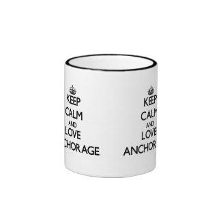 Keep Calm and love Anchorage Ringer Coffee Mug