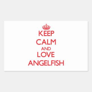 Keep calm and love Angelfish Rectangular Stickers