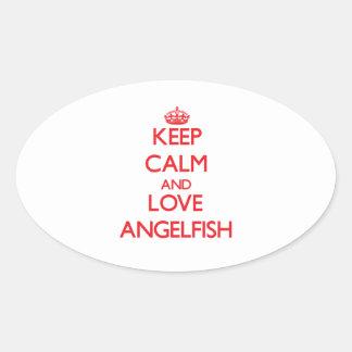 Keep calm and love Angelfish Oval Stickers