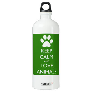 Keep Calm and Love Animals Aluminum Water Bottle