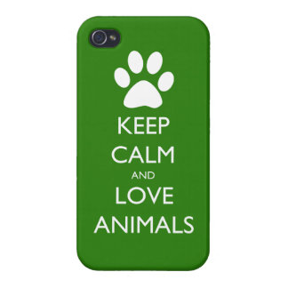 Keep Calm and Love Animals Cover For iPhone 4