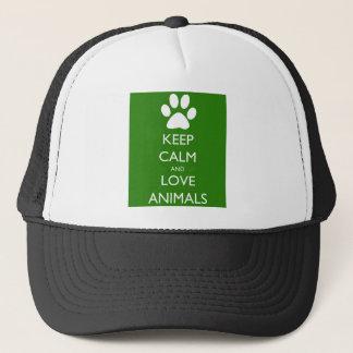 Keep Calm and Love Animals Trucker Hat