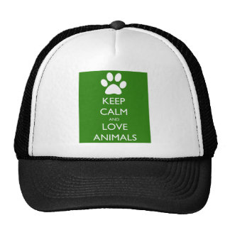 Keep Calm and Love Animals Trucker Hat