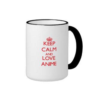 Keep calm and love Anime Ringer Coffee Mug