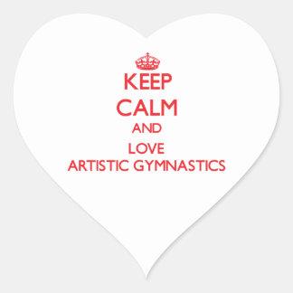 Keep calm and love Artistic Gymnastics Heart Sticker