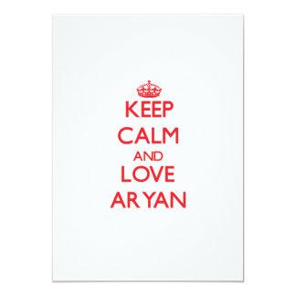 "Keep Calm and Love Aryan 5"" X 7"" Invitation Card"