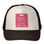 Keep Calm and Love Bacon Gifts Pig Pink Design Trucker Hat