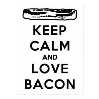 Keep Calm and Love Bacon Postcard