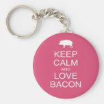 Keep Calm and Love Bacon Print Gift Design Pork Basic Round Button Keychain