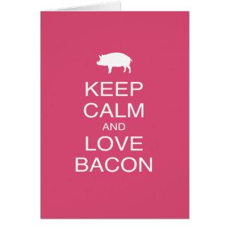 Keep Calm and Love Bacon Print Gift Design Pork Cards